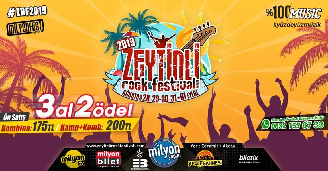 Zeytinli Rock Festivali 28 Ağustos – 1 Eylül 2019 tarihleri arasında Edremit Akçay Sahili' nde